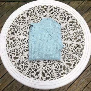 AE 3/4 Sleeve Cable Knit Sweater in Pale Blue